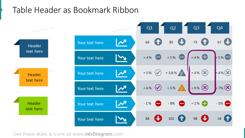 Table graphics with a bookmark ribbon header