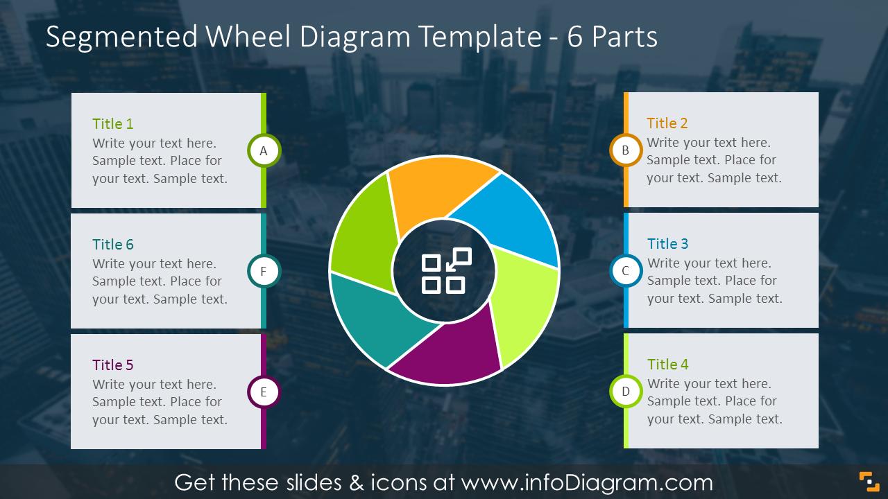 Segmented wheel diagram for 6 items