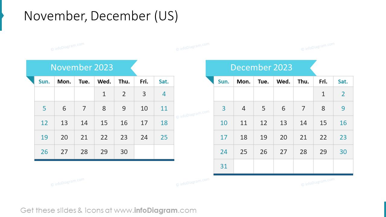 November December 2022 US Calendar