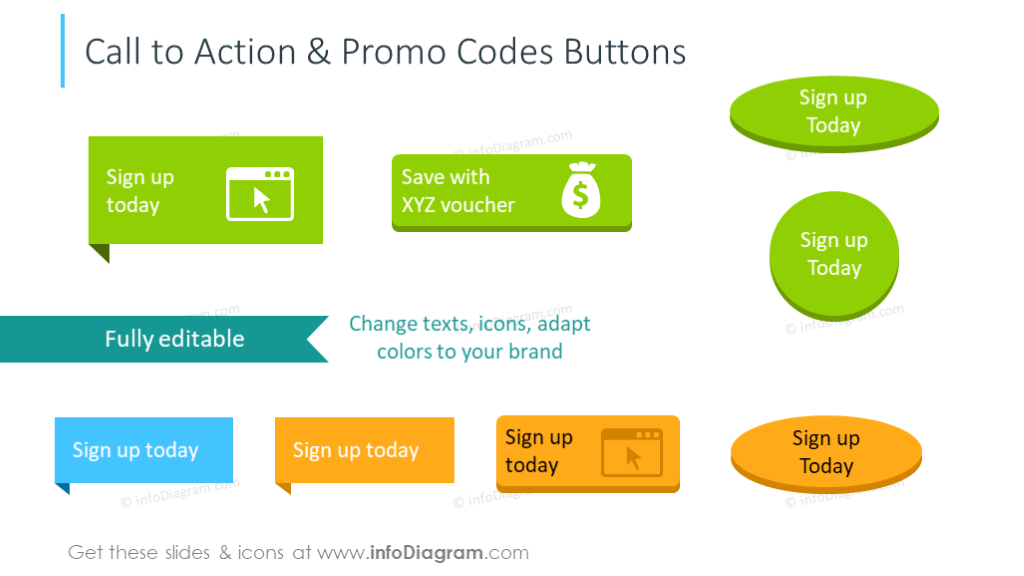 Call-to-action symbols and buttons