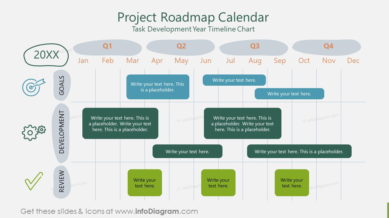 Project Roadmap Calendar Task Development Year Timeline Chart
