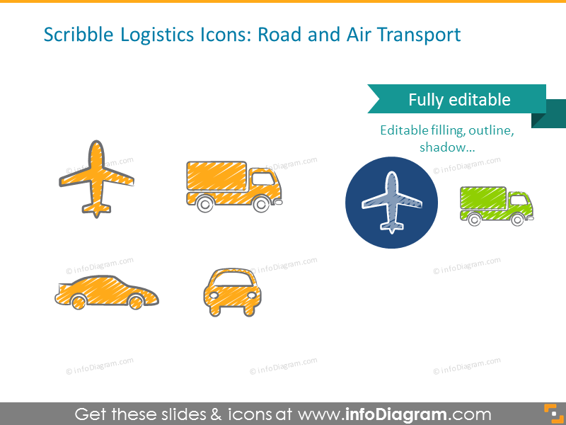 Example of road and air transport scribble icons