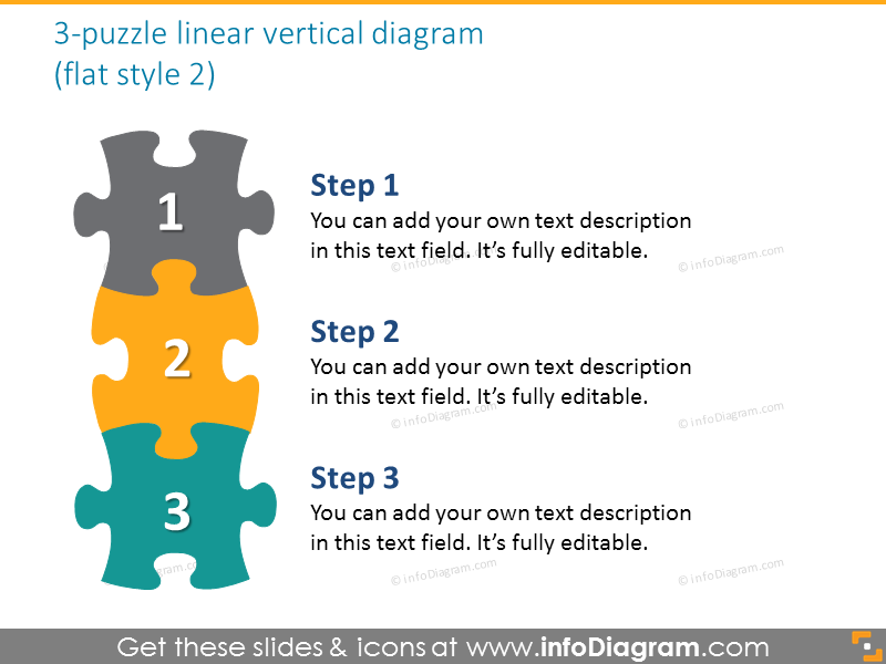puzzle linear vertical diagram handdrawn sketched ppt clipart
