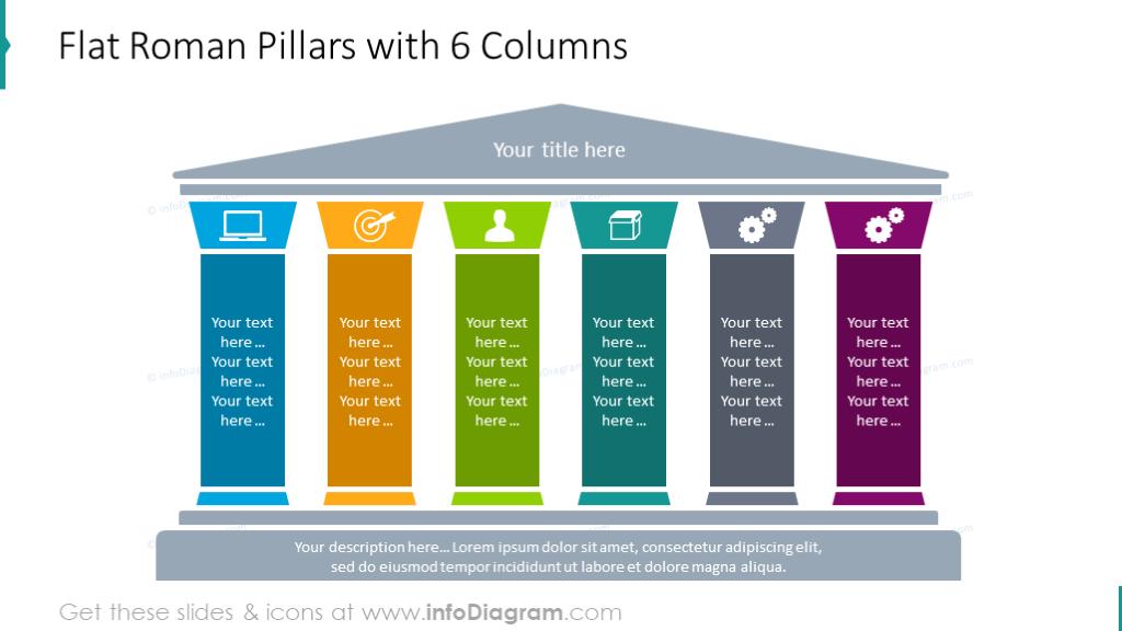Flat roman pillars diagram with 6 columns