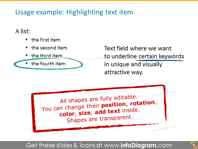 Example of Highlighting text item with charcoal lines