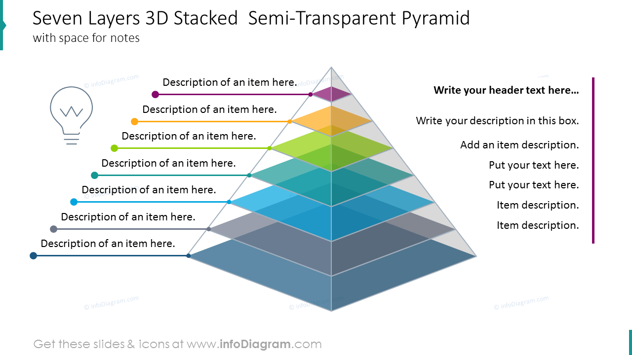 Seven layers 3D Stacked  semi-transparent pyramidwith space for notes