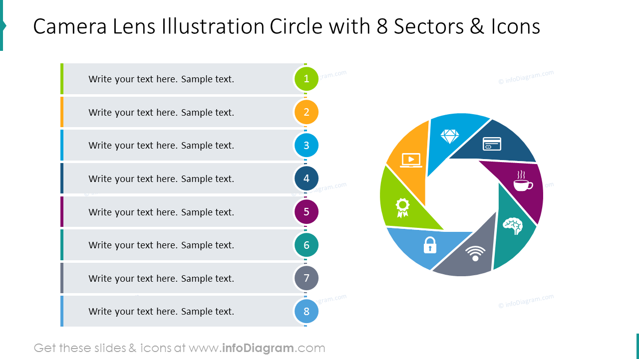 Camera lens illustration circle with 8 sectors and icons