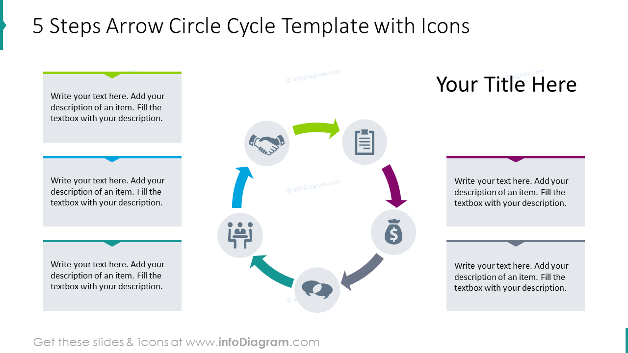 5 steps arrow circle cycle template with icons