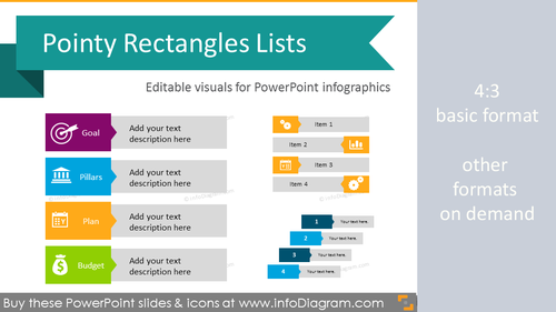 Infographics Template - Pointed Rectangle Lists (flat PPT Diagrams)