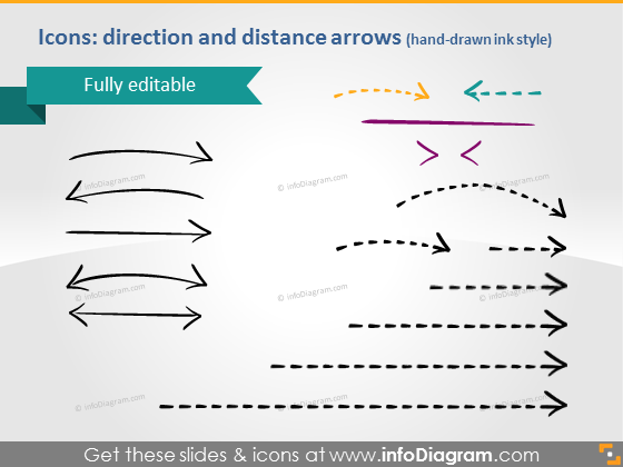 Hand drawn Arrows Path Maps PowerPoint shapes