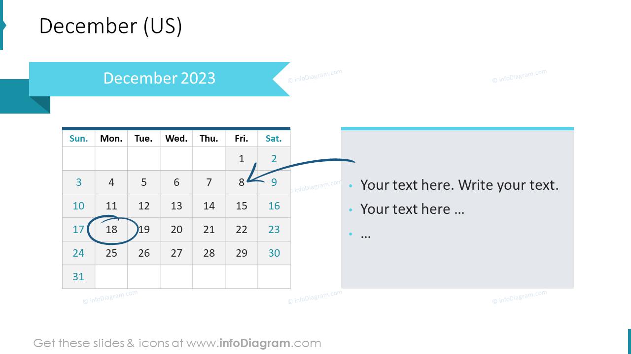December 2022 US Calendars