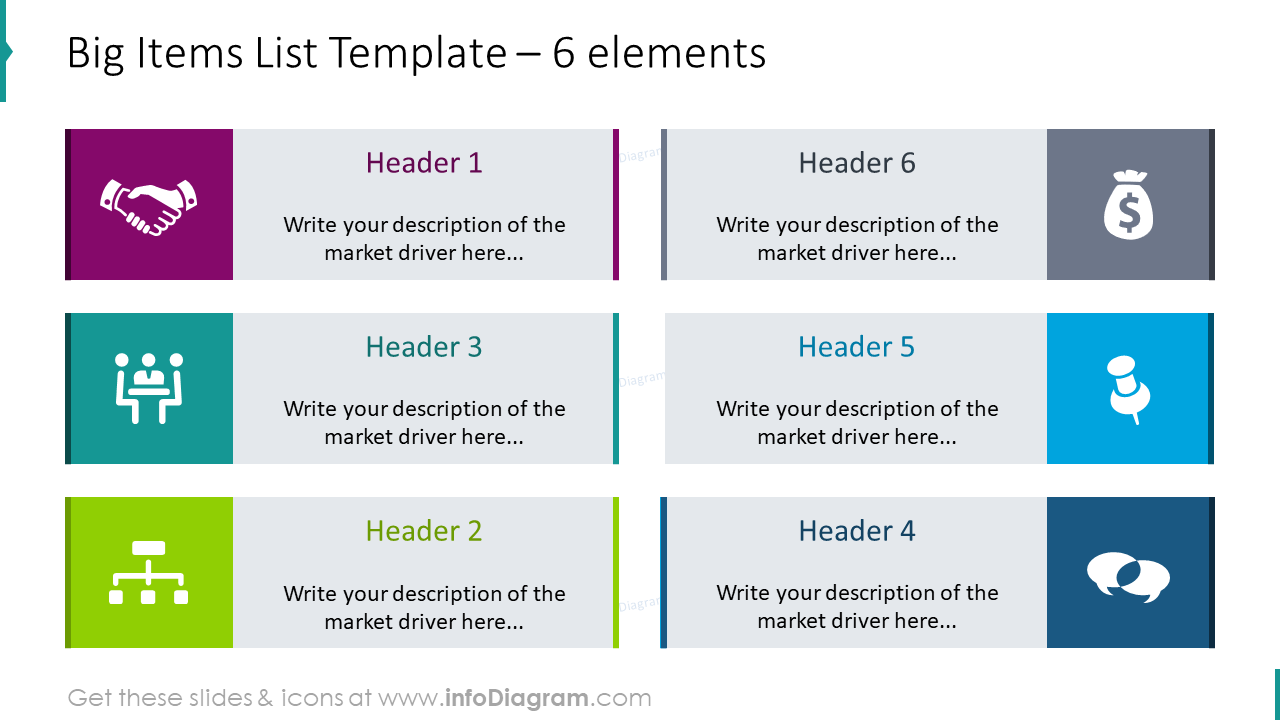 Big items list template for 6 elements