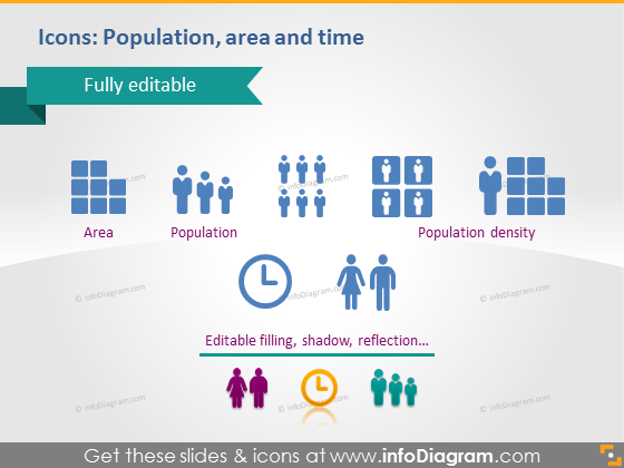 Population Area Time Icons Time Zone Powerpoint Clipart