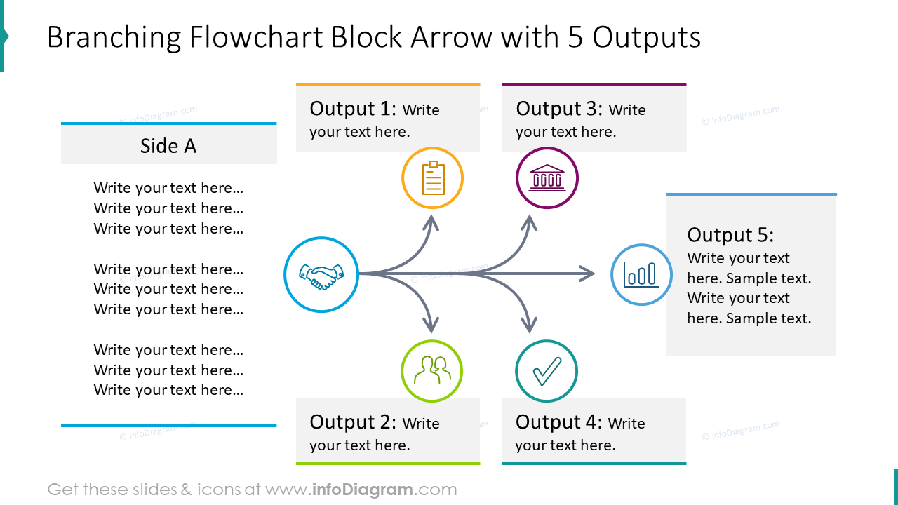 Branching flowchart block arrow with five outputs
