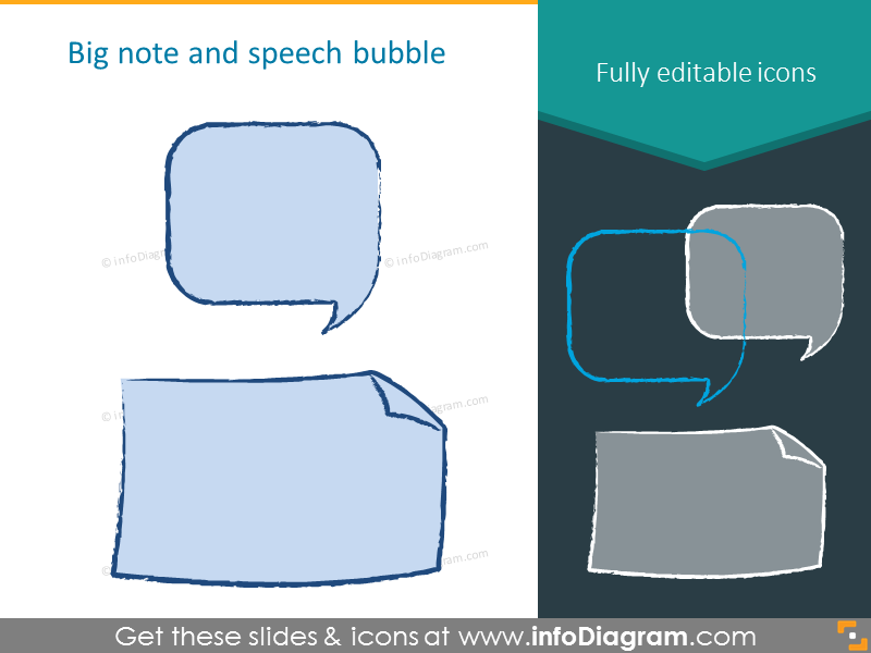 Big note and speech bubble