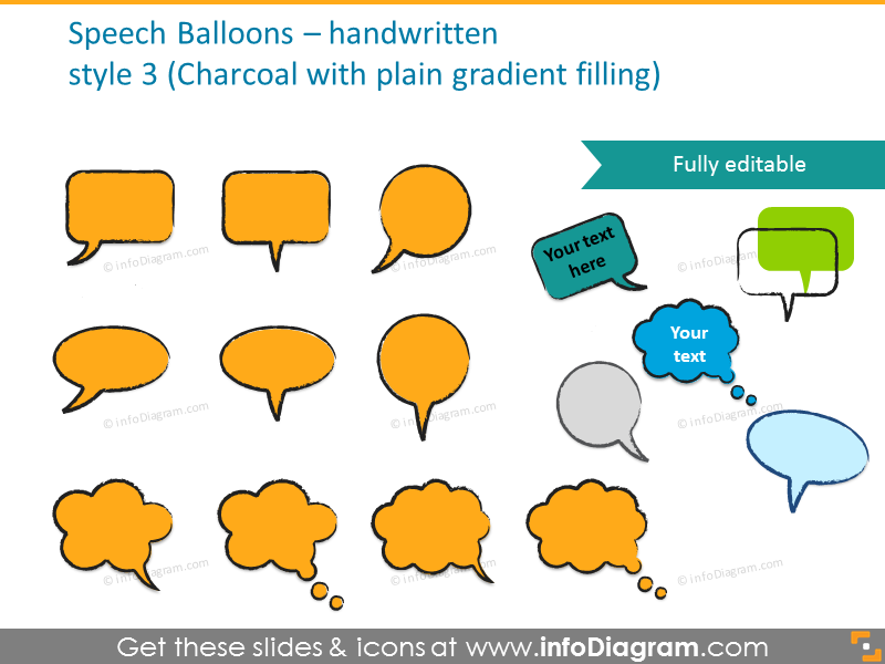 Charcoal speech balloons with plain gradient filling