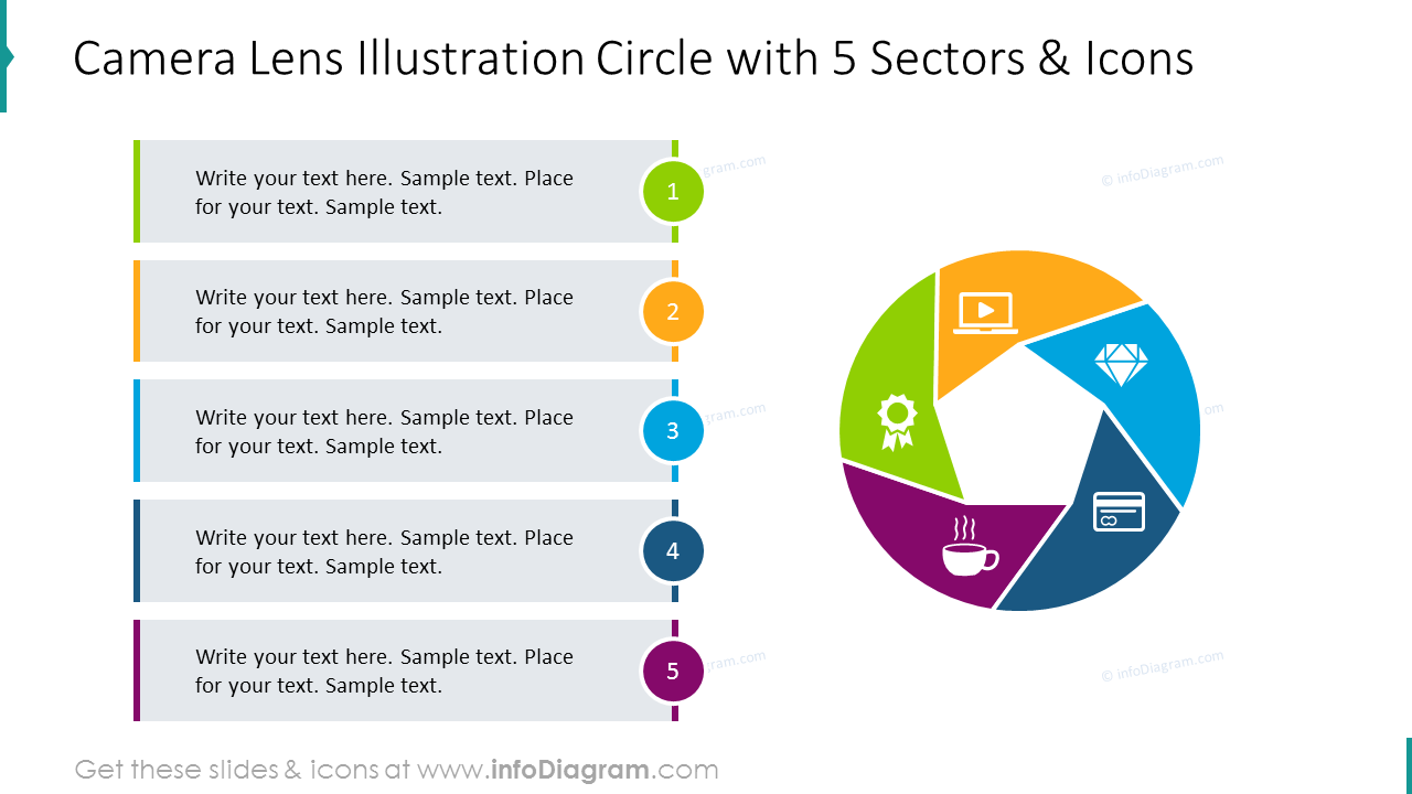 Camera lens illustration circle with 5 sectors and icons