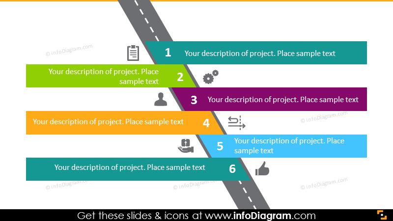 6 aims milestones roadmap flat infographics