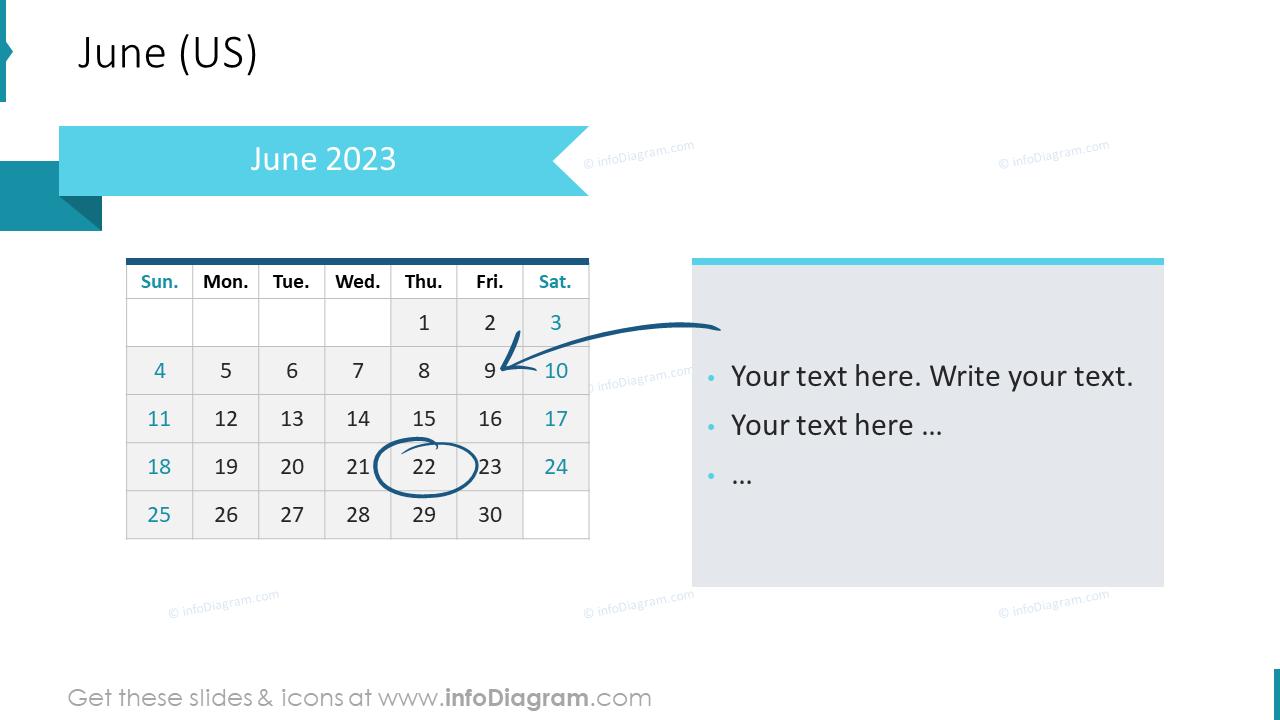 June 2022 US Calendars