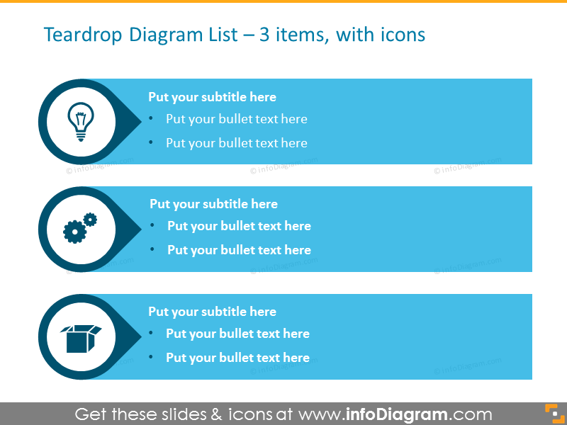 Teardrops List for placing 3 items, with icons