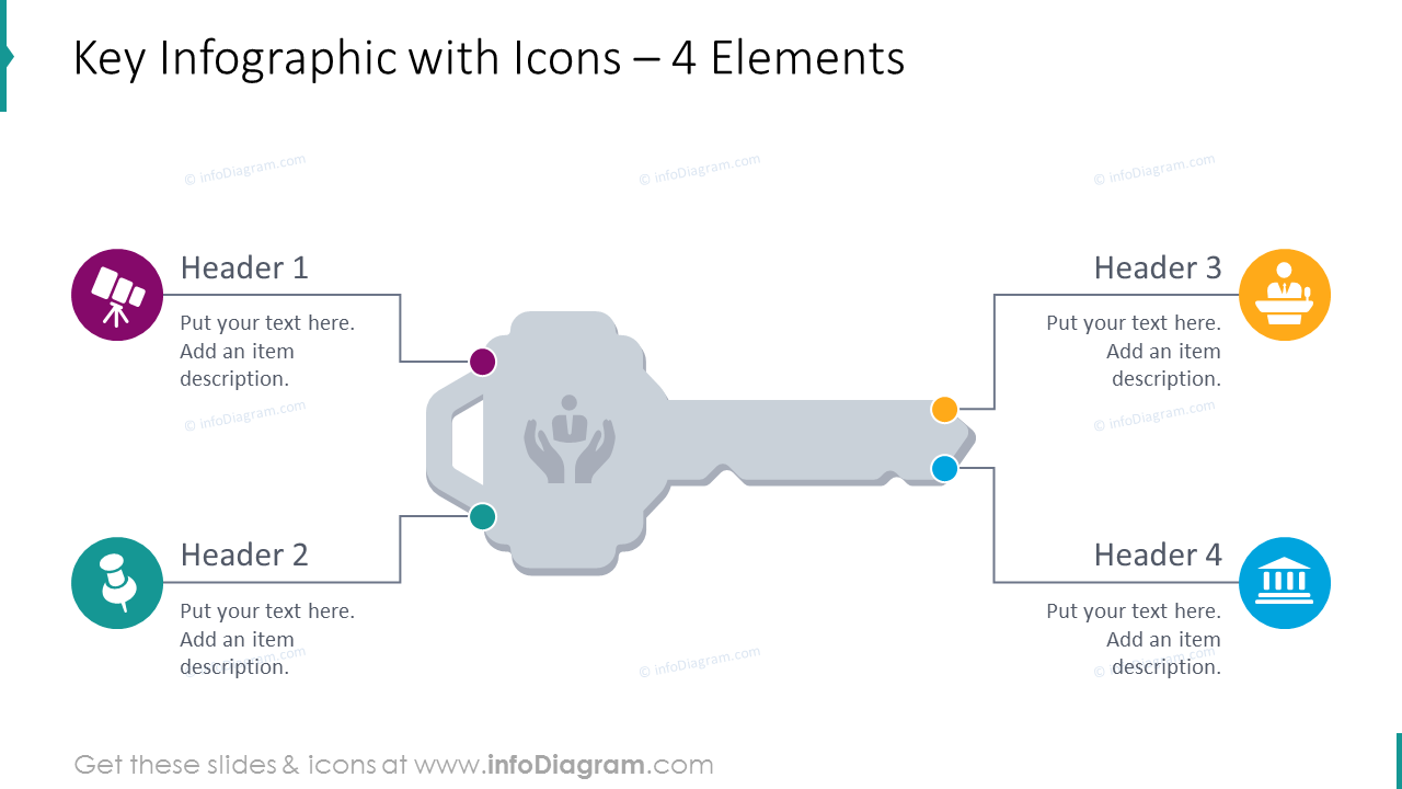 Key diagram for 4 items depicted with flat icons