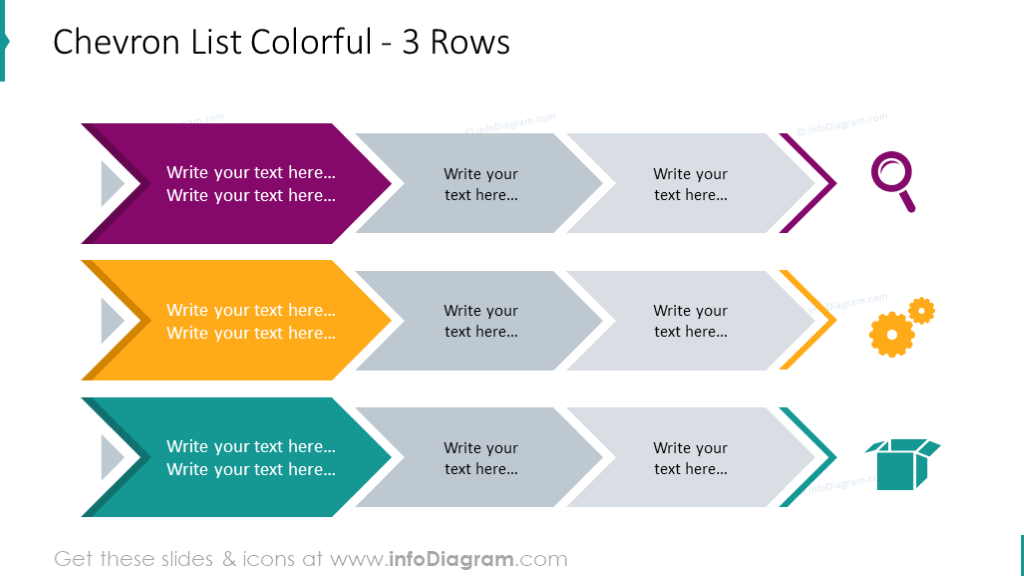 Chevron list illustrated with 3 colorful rows