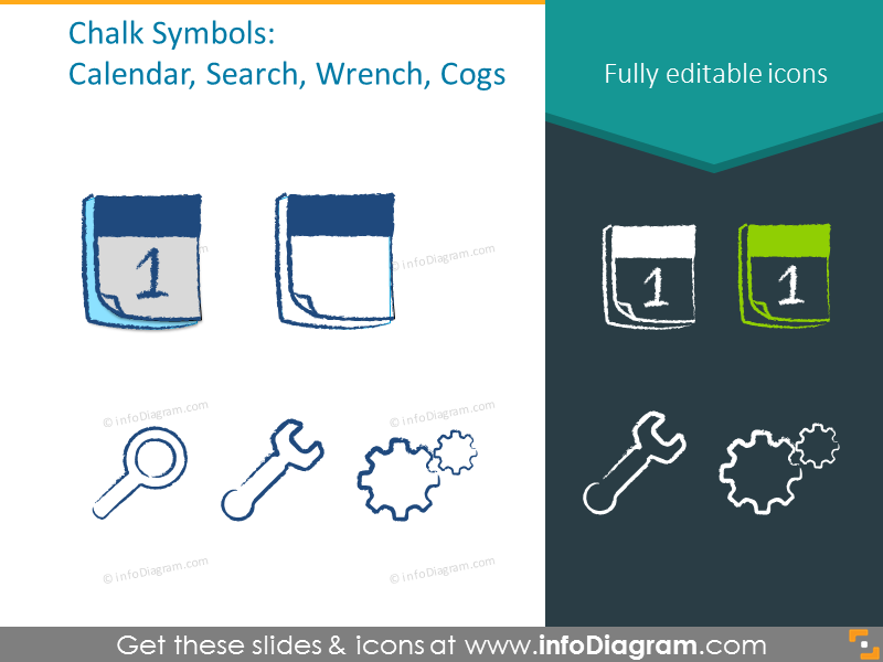 Example of the chalk symbols: calendar, search, wrench, cogs