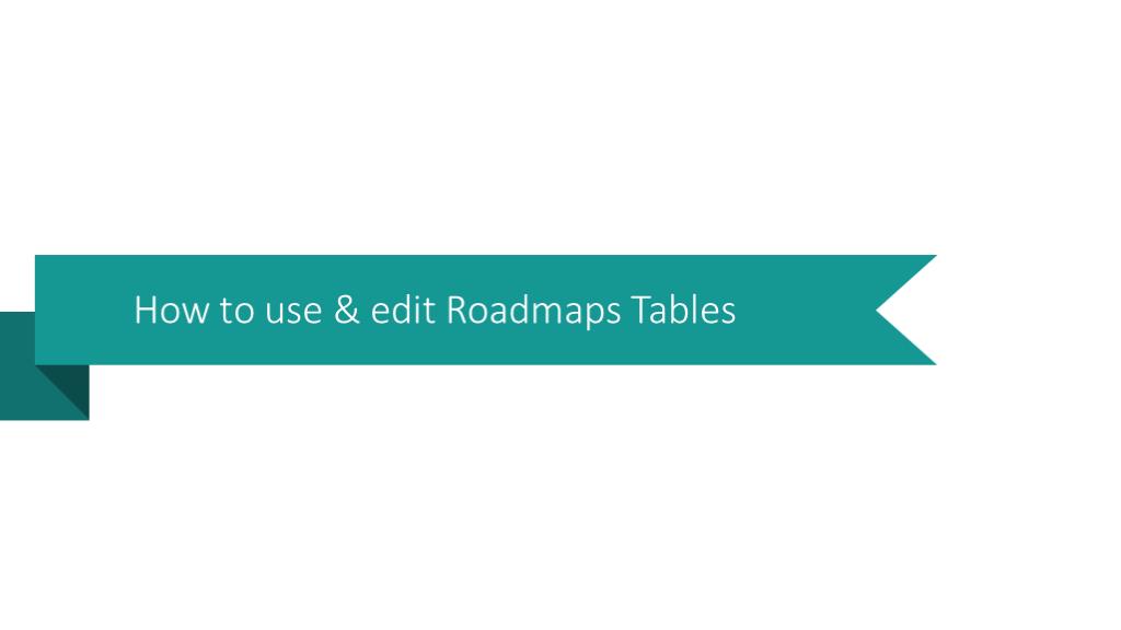 Roadmap tables