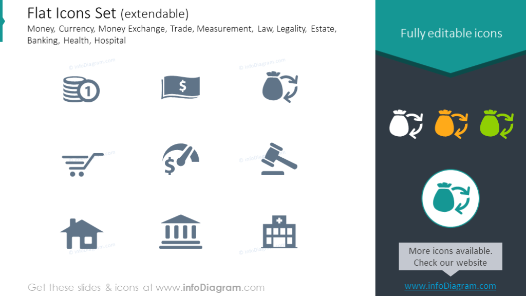 Flat Icons: Currency, Money Exchange, Trade, Legality, Estate, Banking