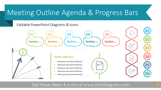 Meeting Outline Agenda & Sections Indicators (PPT Template)