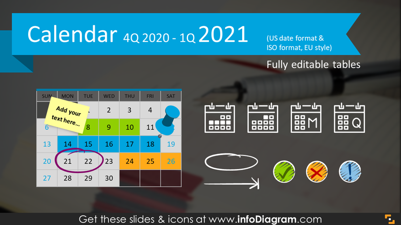 Quarterly Calendars 4Q 2020 + 1Q 2021 (PPT tables and icons)