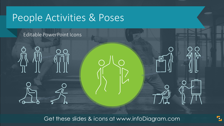 People Activities and Body Poses Stick Figures (outline PPT icons)