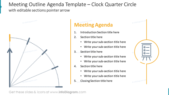 Meeting Outline Agenda Template – Clock Quarter Circle with editable sections pointer arrow