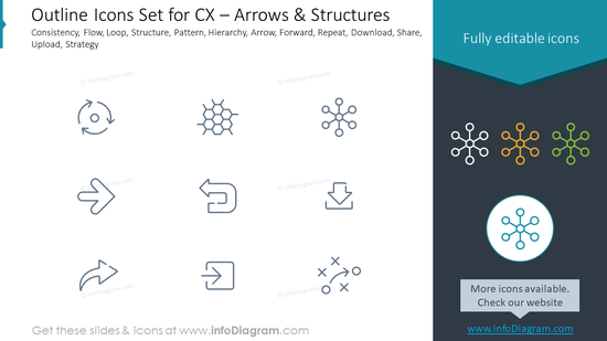 Outline Icons Set for CX – Arrows & Structures