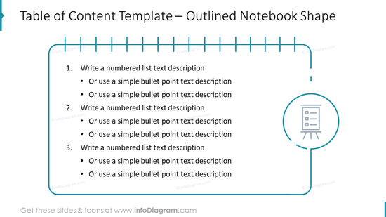 Table of Content Template – Outlined Notebook Shape