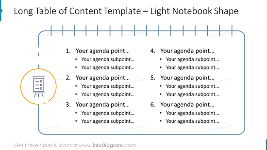 Long Table of Content Template – Light Notebook Shape
