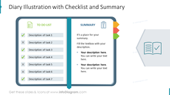 Diary Illustration with Checklist and Summary