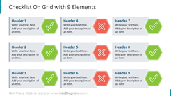 Checklist On Grid with 9 Elements