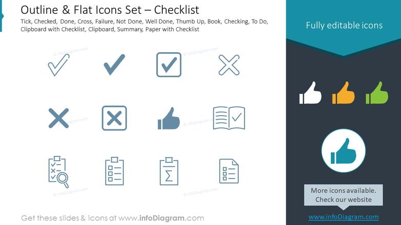Outline & Flat Icons Set – Checklist