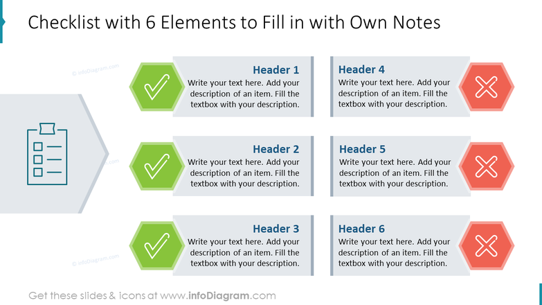 Checklist with 6 Elements to Fill in with Own Notes