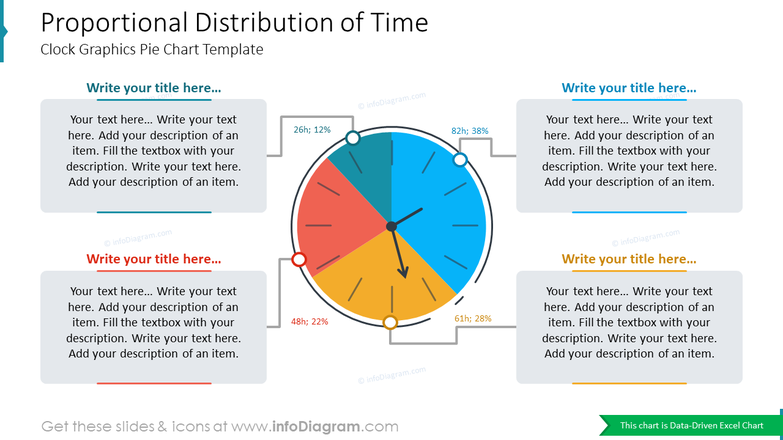 Proportional Distribution of TimeClock Graphics Pie Chart Template