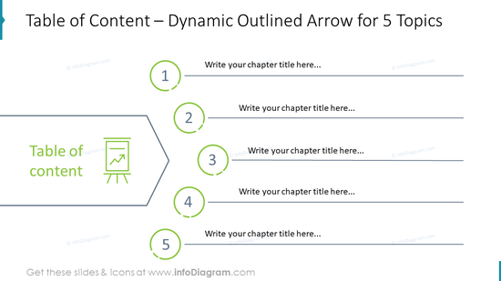 Table of Content – Dynamic Outlined Arrow for 5 Topics