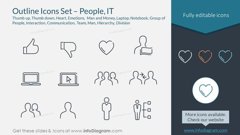 Outline Icons Set – People, IT