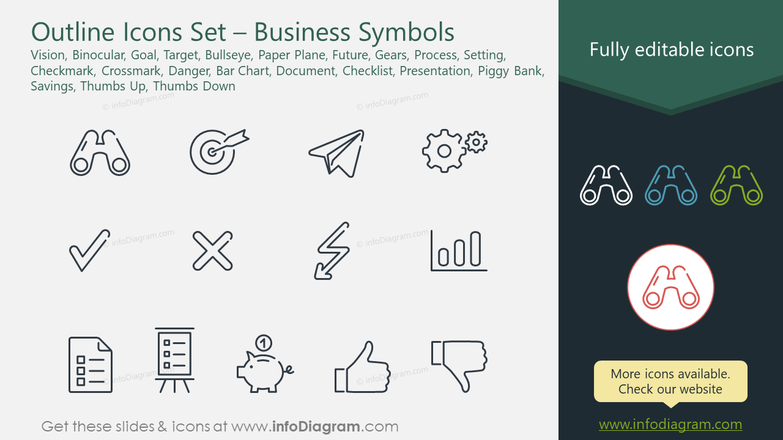 Outline Icons Set – Business Symbols