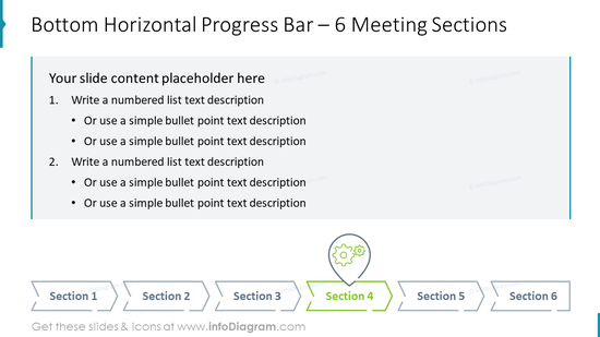 Bottom Horizontal Progress Bar – 6 Meeting Sections