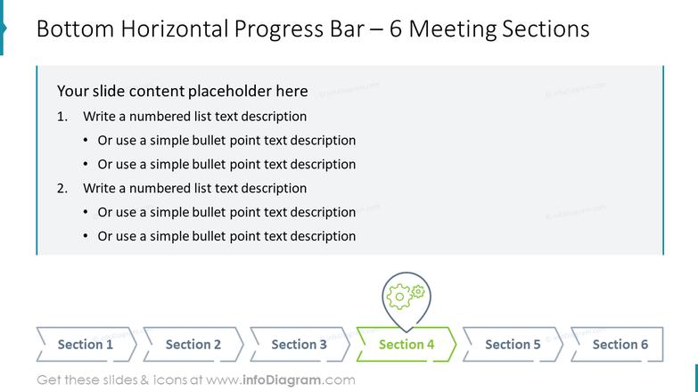 Bottom Horizontal Progress Bar – 6 Meeting Sections