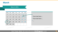 Monthly calendar 2020 slide: March