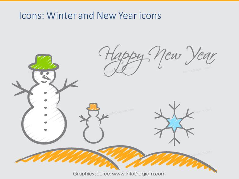 Creative Happy Holiday Watercolor, Santa, New New Year 2017, Christmas (PPT icons)