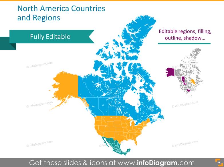 North America PPT Map USA Canada Mexico