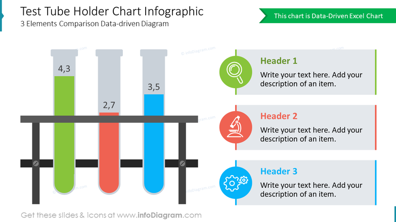 Test Tube Holder Chart Infographic3 Elements Comparison Data-driven Diagram